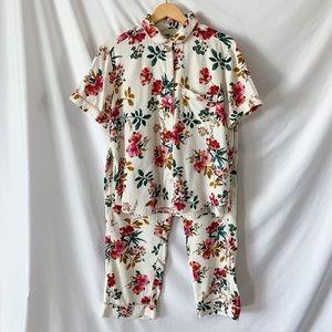 LOFT Sleep Floral Pajama Shirt & Pants Set Sz L